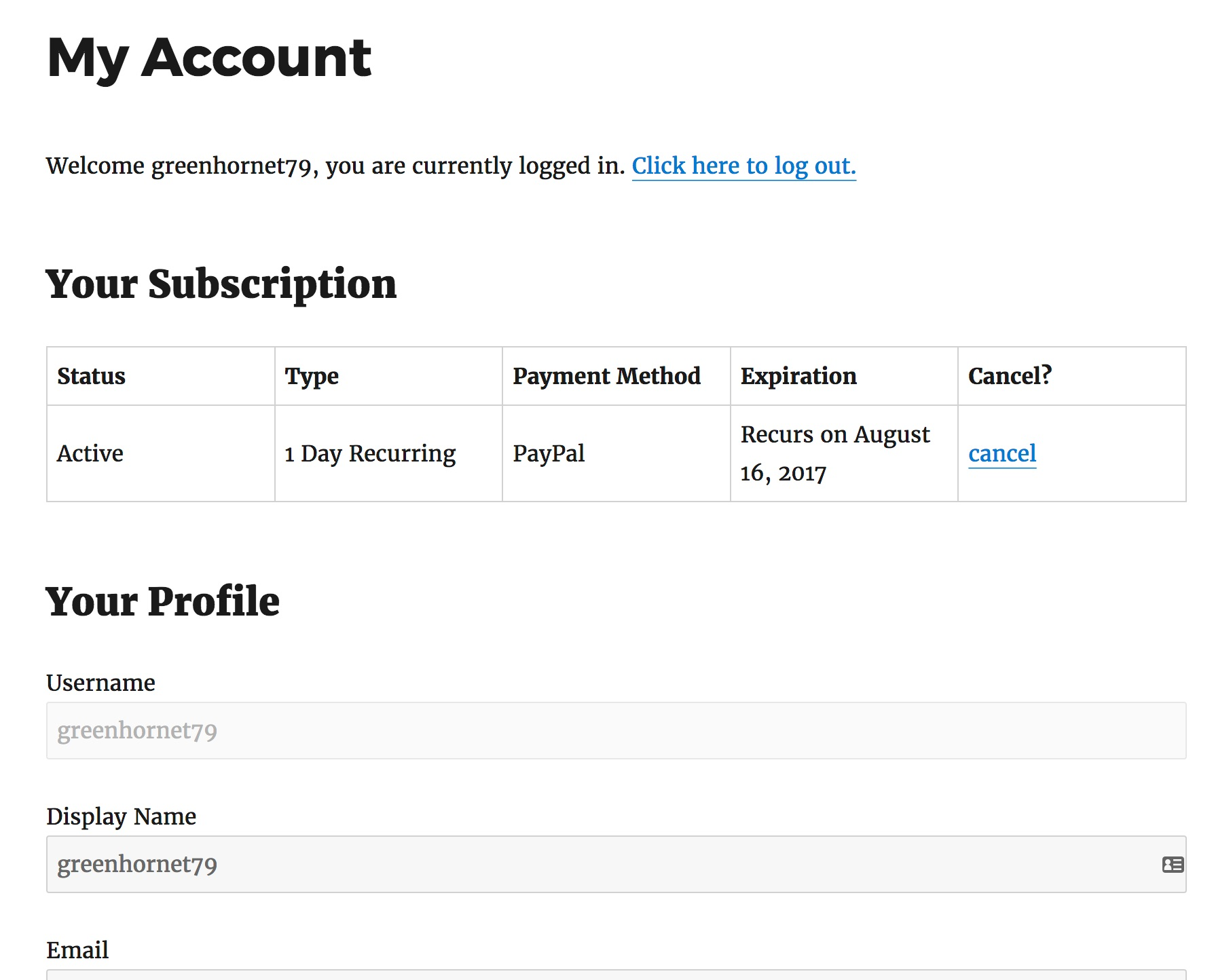 leaky paywall my account page