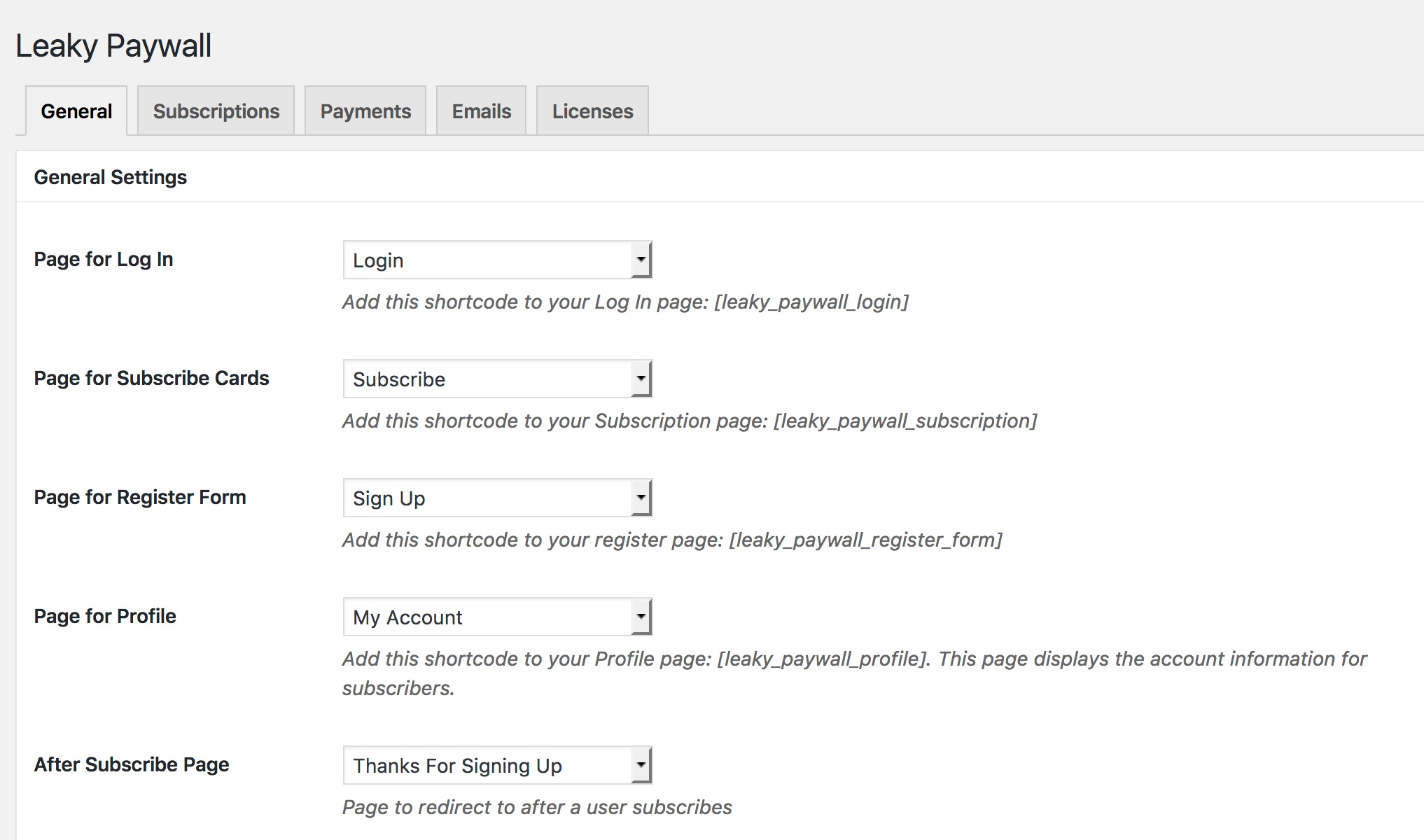 Leaky Paywall general settings