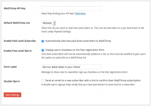 Leaky Paywall MailChimp settings