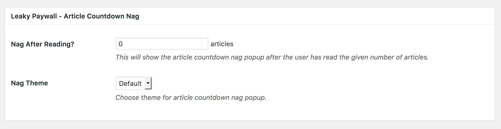 leaky paywall countdown settings