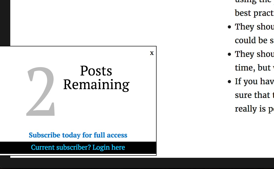 leaky paywall countdown nag